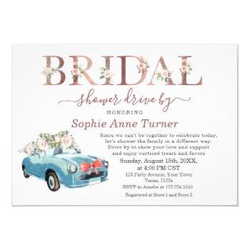 old car pink blush floral bridal shower drive by invitation