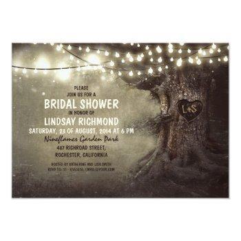 old oak tree twinkle lights bridal shower invitation