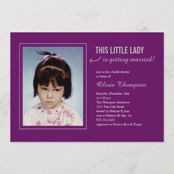 old photo bridal shower majestic purple invitation