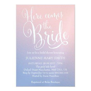 ombre fairytale here comes the bride bridal shower invitation