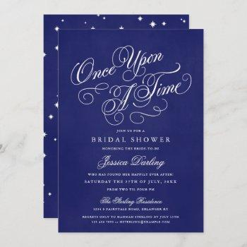 once upon a time shower invitations royal blue