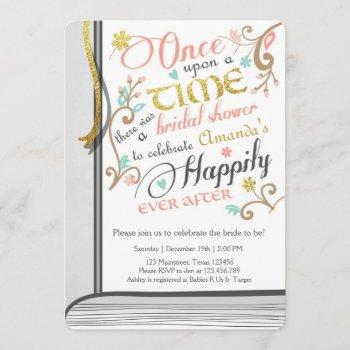 once upon a time storybook bridal shower pink invitation