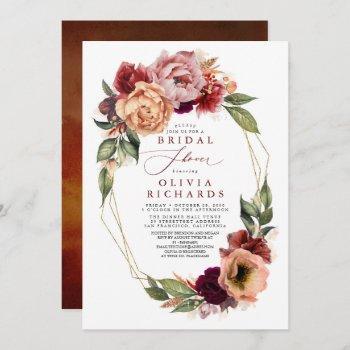 orange burgundy red floral fall bridal shower invitation