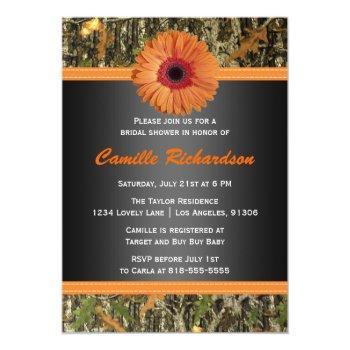 orange daisy bridal shower invitation