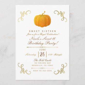 orange fall autumn glitter pumpkin sweet 16 party invitation