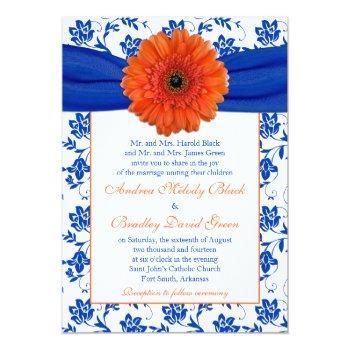 orange gerber cobalt floral wedding invitation
