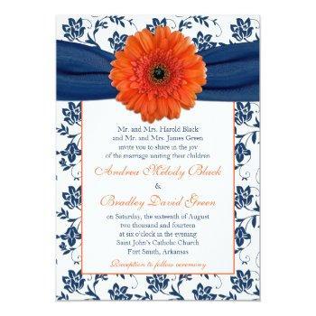 orange gerber daisy navy floral wedding invitation