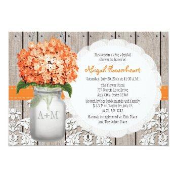 orange hydrangea mason jar bridal shower invitation