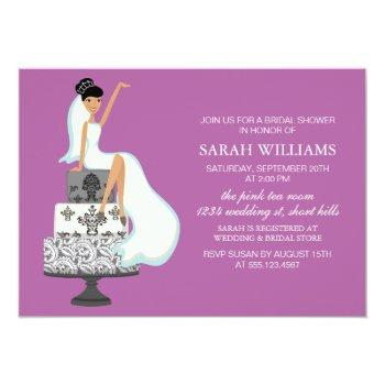 orchid bride on wedding cake invitation