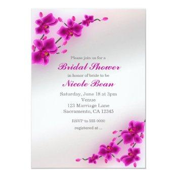 orchid flowers elegant floral bridal shower invitation