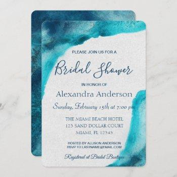 organic ocean blue watercolor bridal shower invite