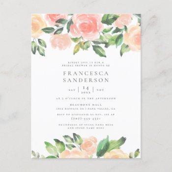 painted peach roses | modern elegant bridal shower invitation postcard