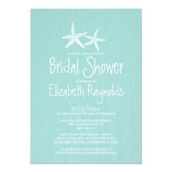 pair of starfish bridal shower invitations