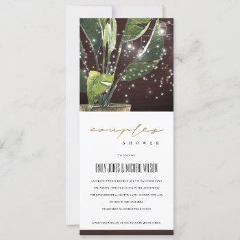 palm starry mason jar lights couples shower  invitation
