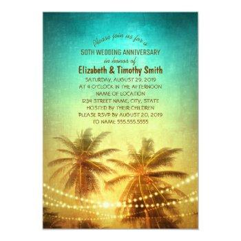 palm tree sunset beach themed bridal shower invitation
