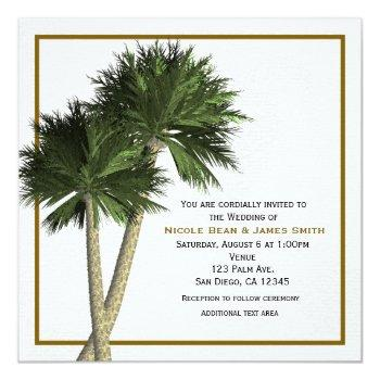 palm trees white & gold elegant wedding invitation
