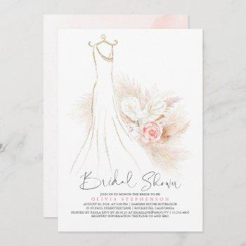 pampas grass and wedding dress bridal shower invitation