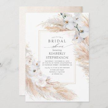pampas grass and white orchids chic bridal shower invitation