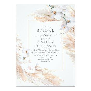 Pampas Grass And White Orchids Chic Bridal Shower Invitation Front View