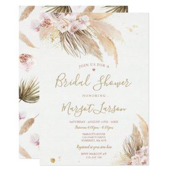 pampas grass bohemian desert bridal shower invitation