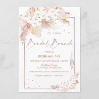 pampas grass glass bridal brunch shower invitation