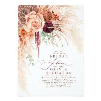 Pampas Grass Terracotta Floral Bridal Shower Invit Invitation Front View