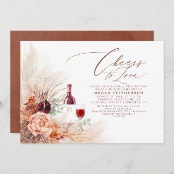 pampas grass wine tasting terracotta bridal shower invitation