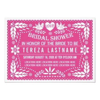 papel picado lovebirds pink wedding bridal shower invitation