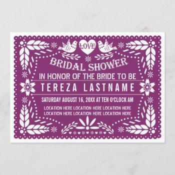 papel picado modern purple wedding bridal shower invitation