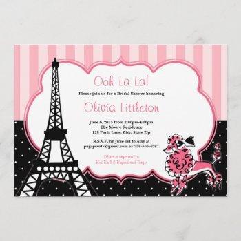 paris bridal shower invitations - pink and black