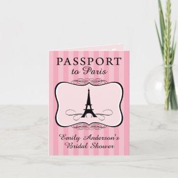 paris bridal shower passport invitation