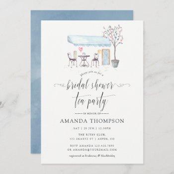 paris cafe watercolor bridal shower tea party invitation