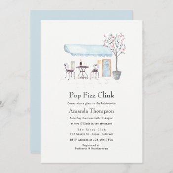 paris cafe watercolor pop fizz clink bridal shower invitation