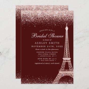 paris eiffel tower burgundy sparkle bridal shower invitation