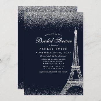paris eiffel tower silver sparkle bridal shower invitation