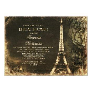 paris eiffel tower vintage bridal shower invitation