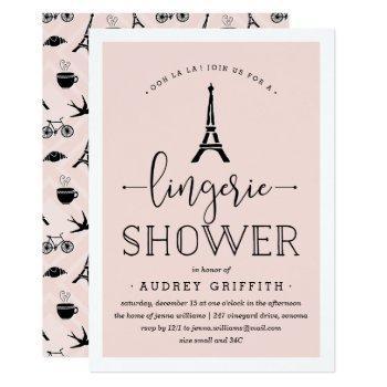 paris romance lingerie shower invitation