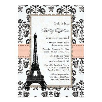 parisian coral peach bridal shower invitations