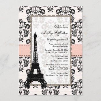 parisian pink black bridal shower invitations