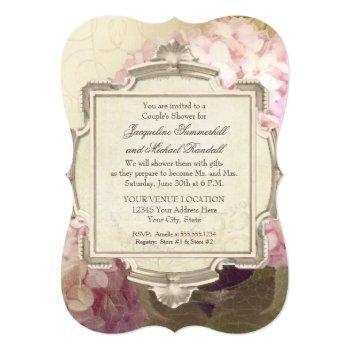 parisian vintage hydrangea manor couples shower invitation