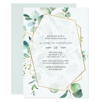 pastel eucalyptus geometric greenery bridal shower invitation