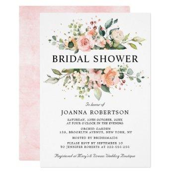 pastel pink blush rose floral bridal shower invitation