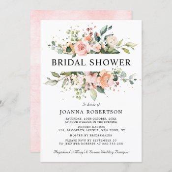 pastel pink blush rose floral bridal shower invitation