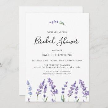 pastel purple floral bridal shower invitation