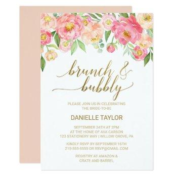 peach and pink peony flowers brunch and bubbly invitation