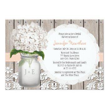 peach and white hydrangea mason jar bridal shower invitation
