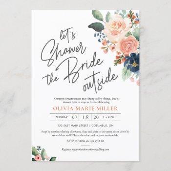 peach blush and navy bridal shower invitation