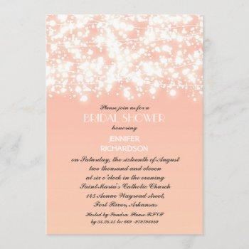 peach color string lights bridal shower invitation