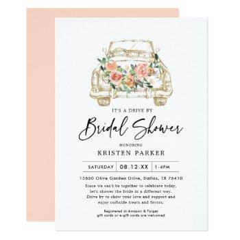 peach floral drive by bridal shower invitation