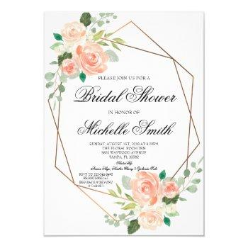 peach floral geometric bridal shower invitation